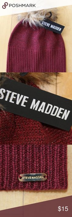 STEVE MADDEN BURGUNDY Pom Pom Beanie Hat This slouchy STEVE MADDEN beanie is ultra-plush and sure to keep you warm on chilly days. Retail-$35.00! Beanie hat (can be snug around the head or slouched back)   Fluffy top faux fur pom  Sparkly knit detail Acrylic / cotton Steve Madden Accessories Hats