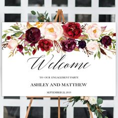 Fall Engagement Party Sign Marsala Welcome Engagement Party | Etsy Bridal Shower Photos, Bridal Shower Signs, Bridal Shower Decorations, Fall Engagement Parties, Engagement Party Signs, Engagement Dinner Ideas, Engagement Photos, Oval Engagement, Country Engagement
