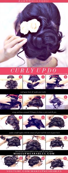 How to Easy Updo with Curls Hairstyles - Cute hair tutorial