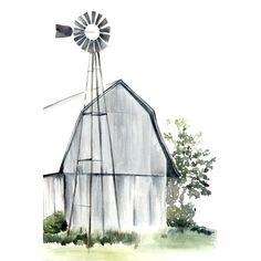Watercolor Barn I Canvas Art Print by Jennifer Paxton Parker - Yard ideas Farmhouse Paintings, Farm Paintings, Country Paintings, Canvas Paintings, Painting Frames, Watercolor Barns, Watercolor Paintings, Watercolors, Easy Watercolor