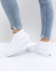 732d2aab946 Vans Classic Sk8 Hi sneakers in all white at asos.com