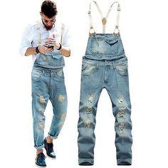 Fashion Men's Denim Slim Fit Jumpsuits Suspender Trousers Overalls Jeans Pants