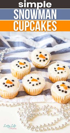 These Simple Snowman Cupcakes are a simple and easy holiday treat. They're tasty and so much fun to decorate as a family! The perfect winter treat to devour while staying warm inside during the holiday. Frozen Cupcakes, Love Cupcakes, Yummy Cupcakes, Holiday Treats, Holiday Fun, Wilton Icing, Cake Mix Ingredients, Marshmallow Snowman, Orange Frosting