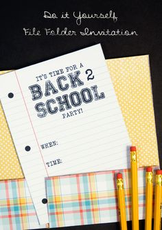 Back to School Party invites. Has free downloads and great instructions for this creative invitation.