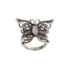 NOVICA Rainbow Moonstone Butterfly Cocktail Ring from Indonesia ($33) ❤ liked on Polyvore featuring jewelry, rings, cocktail, rainbow moonstone, statement rings, holiday jewelry, cocktail ring, evening jewelry and rainbow moonstone jewelry