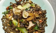Lentils with mushrooms and preserved lemon ragout #ottolenghi