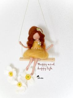 Redhead fairy in a yellow dress, Petruska, Waldorf inspired, Christmas gift, Gift for her, mobile, needle felting, felted fairy, dolls #giftsforher #feltdolls