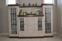 Old Hutch - chalk paint, stain, distressed, clear wax