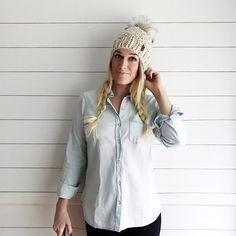 Olive + Arrow Handmade- Adult Textured Knit Pom Pom Hat Slouchy Beanie // Silver Fox Faux Fur Pom