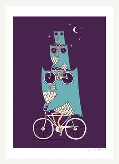 Owl Wow Awww  Print by ilovedoodle on Etsy