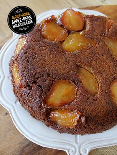 Upside Down Apple-Pear Molasses Cake - Make sure to use Brer Rabbit for your baking needs. brerrabbit.com #cake #molasses #recipe