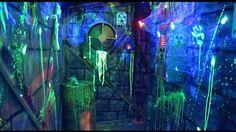 Scene setters splattered with fluorescent paint.