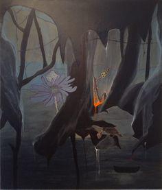 """Maleriet Black Forrest 1 er et dysters, mystisk og moderne originalt unika maleri, der understreger Louise Autrup Vinkels interesse i det gådefulde, det mystiske og mørket. """"Jeg øver mig i at skære ind til benet, uden at miste poesien. Et omdrejningspunkt i min praksis er forvandlingen og dramaet"""". Citat; Louise Autrup Vinkel. Maleriet er udført med akryl maling, collage og med tusch på træ"""