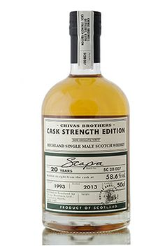 Aged for 20 years, bottled in 2013 at 58.6% vol is this vintage 1993 small batch release from the Scapa distillery, Orkney. Released as part of Chivas Brothers Cask Strength Edition series.  http://www.abbeywhisky.com/scapa-20-year-old-1993-cask-strength-edition-scotch-whisky