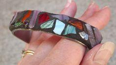 Mosaic Silverware Art Bracelet Metal Cuff by PiecesofhomeMosaics Metal Bracelets, Ankle Bracelets, Sterling Silver Bracelets, Jewelry Bracelets, Jewelry Gifts, Jewellery, Silverware Art, Spoon Bracelet, Gifts For Hunters