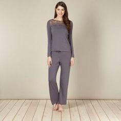 4342acb1990 B by Ted Baker Grey lace and jersey pyjama top- at Debenhams Mobile Ladies  Pyjamas