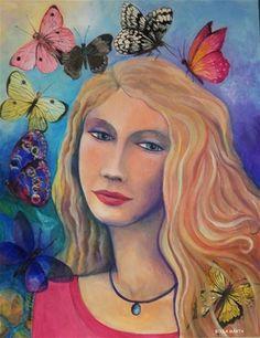 Heléna Acrylic on canvas - 50 x 40 cm - by Márta Bolla - Hungary Mona Lisa, Canvas, Hungary, Artwork, Portraits, Paintings, Art Work, Work Of Art, Auguste Rodin Artwork