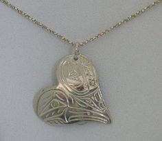 Silver Heart Hummingbird And Whale Necklace $69.95