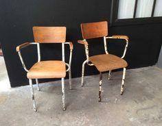 Paire de chaises professeur - 5 Francs
