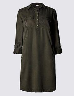 Collared Neck Shirt Dress
