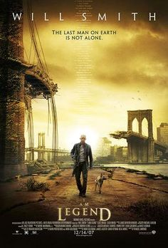 I Am Legend (2007): Good, but creepy, post-apocalyptic science fiction thriller featuring Will Smith living in a decaying Manhattan.