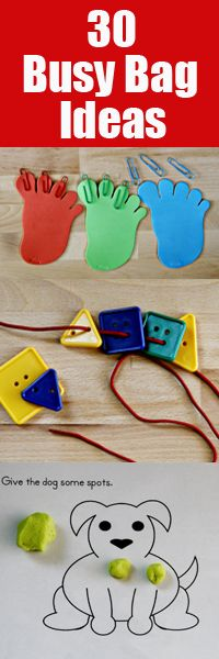 30 Busy Bag Ideas: Lacing plastic shapes,Popsicle stick puzzle, Clothesline, and I Spy Bottle Activities Quiet Time Activities, Craft Activities For Kids, Preschool Activities, Crafts For Kids, Craft Ideas, Toddler Busy Bags, Toddler Fun, Toddler Preschool, Material Didático
