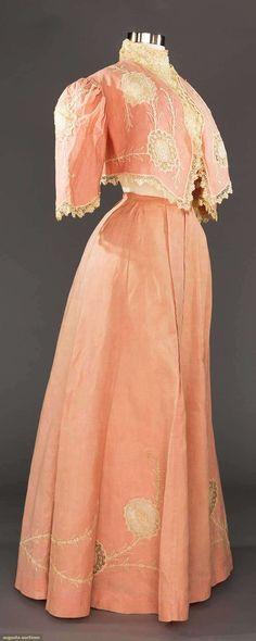 PINK LINEN SKIRT & BOLERO ENSEMBLE, c. 1905 Linen skirt & bolero jacket w/ oval shaped chemical lace appliques & white soutache embroidery