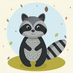 cartoon raccoon wild animal with falling leaves landscape nature vector illustration , Nature Vector, Cute Images, Autumn Leaves, Disney Characters, Fictional Characters, Minnie Mouse, Draw, Cartoon, Illustration