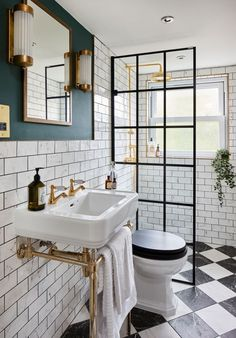 Inspiring small bathroom ideas and designs. Creative decoration suggestions for small bathrooms. Stylish and modern small bathroom designs. Upstairs Bathrooms, Downstairs Bathroom, Tiny Bathrooms, Tiny Bathroom Makeovers, Black White Bathrooms, Retro Bathrooms, Ensuite Bathrooms, Bathroom Design Small, Bathroom Interior Design