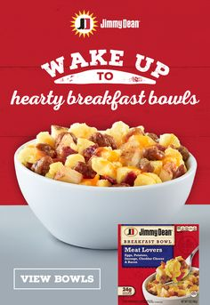 Jimmy Dean's hearty breakfast bowls will help energize your day with up to 24g of protein of meat, cheese and eggs. Tap the Pin to learn more.