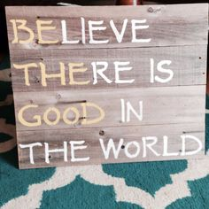 """BE THE GOOD sign is a inspirational statement to share. A happy, positive, sunny addition for your home. Measures Approx: 26"""" wide, 23"""" high All of our signs are one of a kind due to the nature of the"""