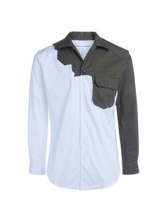 COMME DES GARÇONS SHIRT Comme Des Garçons Shirt White Shirt With Hunter Green Patch. #commedesgarçonsshirt #cloth #