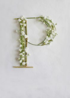 The letter P from a gorgeous alphabet created from baby's breath flowers & twigs by Hong Kong artist & designer, Keziah Chong. via all sorts of pretty