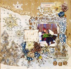 Scraps of Darkness scrapbook kits: This fun, frosty Winter sledding mixed media layout was created by Kathy Mosher using our December kit - Wilma's Winter Wishes. Find our kits at www.scrapsofdarkness.com