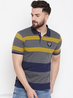 Tshirts Austin Wood Men's Grey Striped Polo Neck T-shirt Fabric: Cotton Sleeve Length: Short Sleeves Pattern: Striped Multipack: 1 Sizes: S (Chest Size: 38 in Length Size: 27 in)  M (Chest Size: 40 in Length Size: 27.5 in)  L (Chest Size: 42 in Length Size: 28 in)  XL (Chest Size: 44 in Length Size: 28.5 in)  XXL (Chest Size: 46 in Length Size: 29 in)  XXXL (Chest Size: 48 in Length Size: 29.5 in) Country of Origin: India Sizes Available: S, M, L, XL, XXL, XXXL   Catalog Rating: ★4.1 (12668)  Catalog Name: Trendy Partywear Men Tshirts CatalogID_833565 C70-SC1205 Code: 133-5572462-177