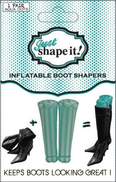 Don't wait for folds and creasing to develop in your boots! Keep your boots in shape longer with Just Shapeit! - the inflatable boot support. The perfect travel accessory; protects your boots from getting squashed without increasing your luggage limit. Ideal for summer storage. Reusable, just deflate when not in use.  Just inflate the booty shapers, insert into your boots - it's that simple!