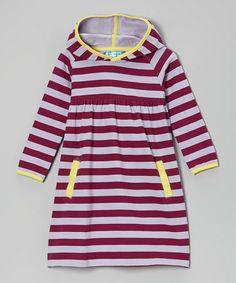 Loving this Boysenberry & Lavender Stripe Hooded Dress - Toddler & Girls on #zulily! #zulilyfinds