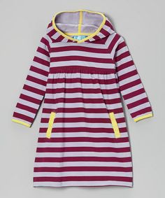 Another great find on #zulily! Boysenberry & Lavender Stripe Hooded Dress - Toddler & Girls by Confetti Kisses #zulilyfinds