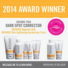 """PRODUCT SPOTLIGHT: TotalBeauty.com recently honored our REVERSE Regimen with the REVERSE Skin Lightening Accelerator Pack as their Editors' Pick Award for dark spot correction, stating """"it seriously wipes out dark spots and other sun damage."""" Message me for more info about our award winning products! www.emilymiller.myrandf.com #skincare #sundamage"""