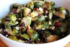 Roasted Brussels Sprouts with Dried Cranberries, Toasted Hazelnuts, and Orange Zest. Photo: Wendy Goodfriend