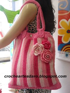 Deep Pink Striped Purse.... Crochê e Artes da Rô