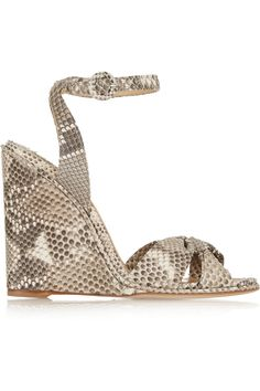 Paul Andrew | Wisteria python wedge sandals | NET-A-PORTER.COM