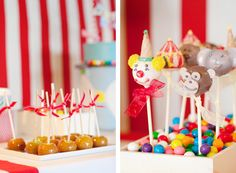 CircusThemed Birthday Party - love how the character cake pops are in multi-coloured gumballs to add colour