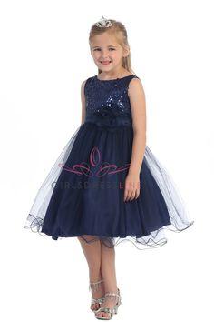 Gorgeous Navy Blue Sequined Round Neck Tulle Overlaid Girl Dress K305 K305-NB $44.95 on www.GirlsDressLine.Com