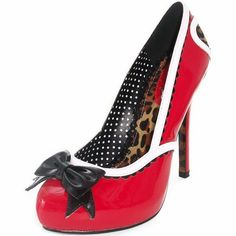 """Inked Boutique - Bettie Page Ginger 5"""" Closed Toe Heel Red Shoes Bow Heart Leopard Animal Print Retro Vintage Inspired Rockabilly Pinup www.inkedboutique.com"""