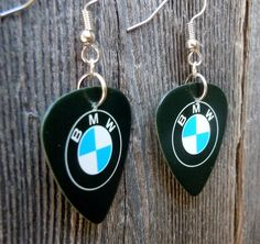 BMW Emblem Guitar Pick Earrings by ItsYourPick on Etsy