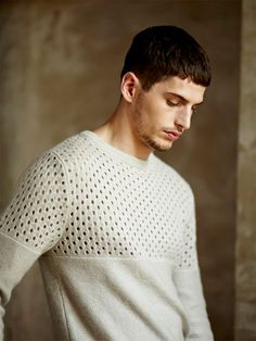Villain Spring/Summer 2014 Lookbook / perforated / sweater / mens / fashion / menswear / knit / white / taupe / beige