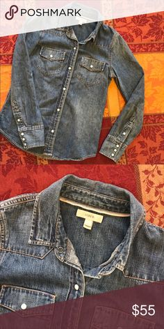 J. CREW Denim Button Down Perfect condition, only worn once. Great find for Fall!  Underarm to underarm: 18 in Shoulder to bottom: 24 in Sleeve length: 24 in Sleeve opening: 8 in J. Crew Jackets & Coats