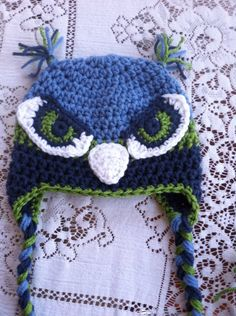 Adult size Seattle Seahawks inspired hat by MarysMoxee on Etsy, $30.00