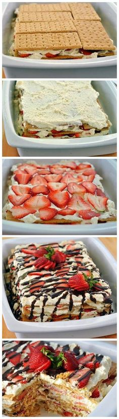 "No-Bake Strawberry Icebox Cake. This No-Bake Strawberry Icebox Cake is heavenly! The ""cake"" is really graham crackers that have softened thanks to the whipped topping and strawberries. It takes only minutes to put together!"